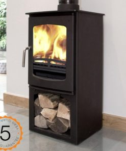 Ecosy+ Purefire Curve 5 wood burning stove with stand front side