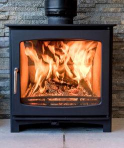 Ecosy+ Purefire Panoramic 5kw wood burning stove front